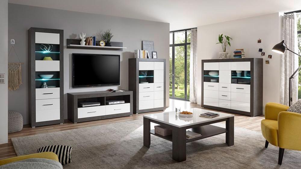 Wohn Und Esszimmermöbel Eton 61 In Hochglanz Weiß Mit