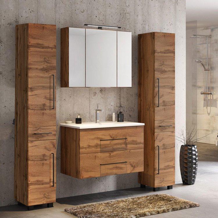 Badezimmermöbel im Set aus Wotaneiche mit Griffen im Industrial Style