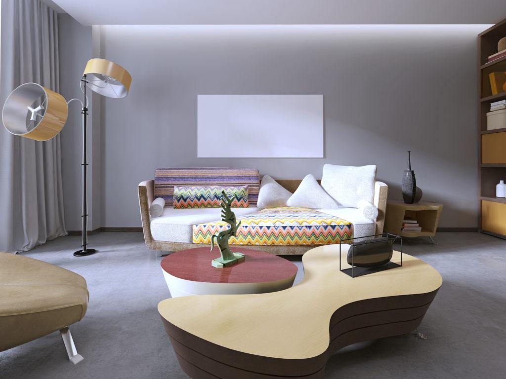 Möbelstücke mit organischen Formen im Retro Stil