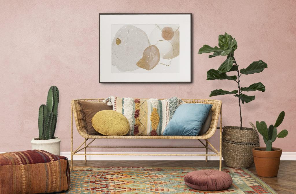 Wohnzimmer im Boho Stil mit vielen organischen Materialien