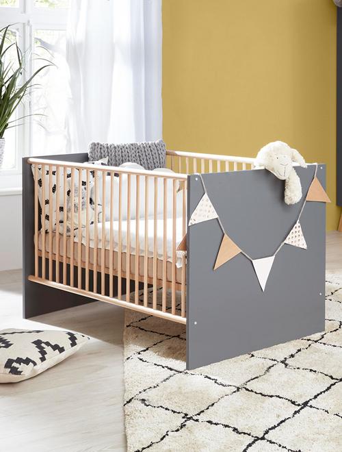 Babybett in anthrazit und Buche der Serie MANISA-19