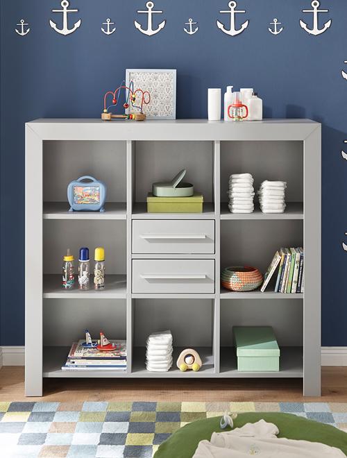 Offenes Regal mit Schubladen für das Babyzimmer aus der Möbelserie NIKOSIA-78