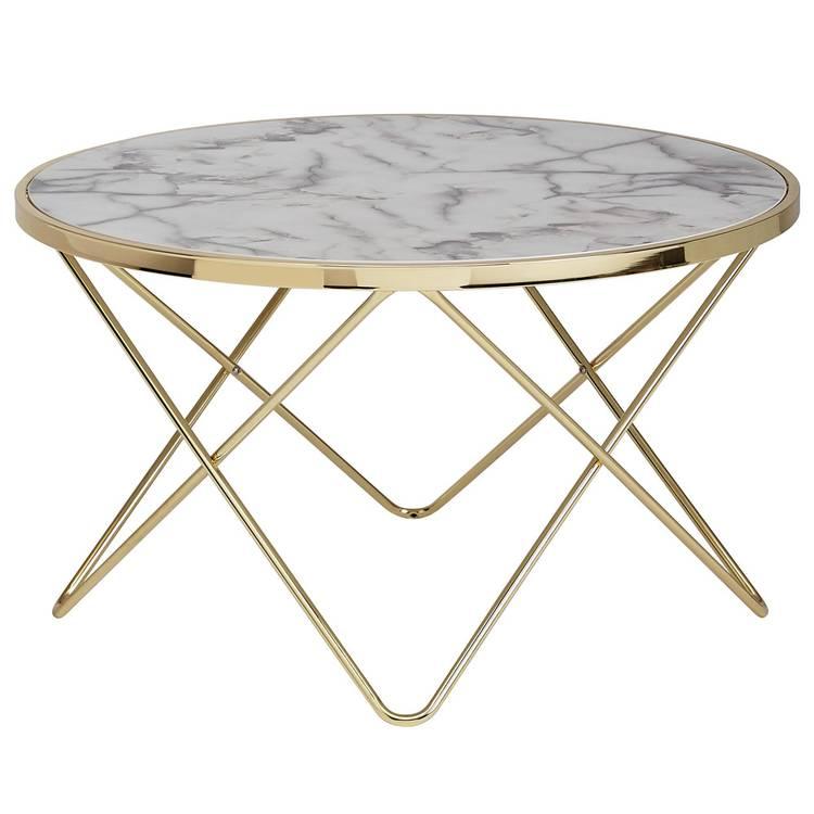 Runder Couchtisch mit goldenem Gestell und Tischplatte in Marmor-Optik