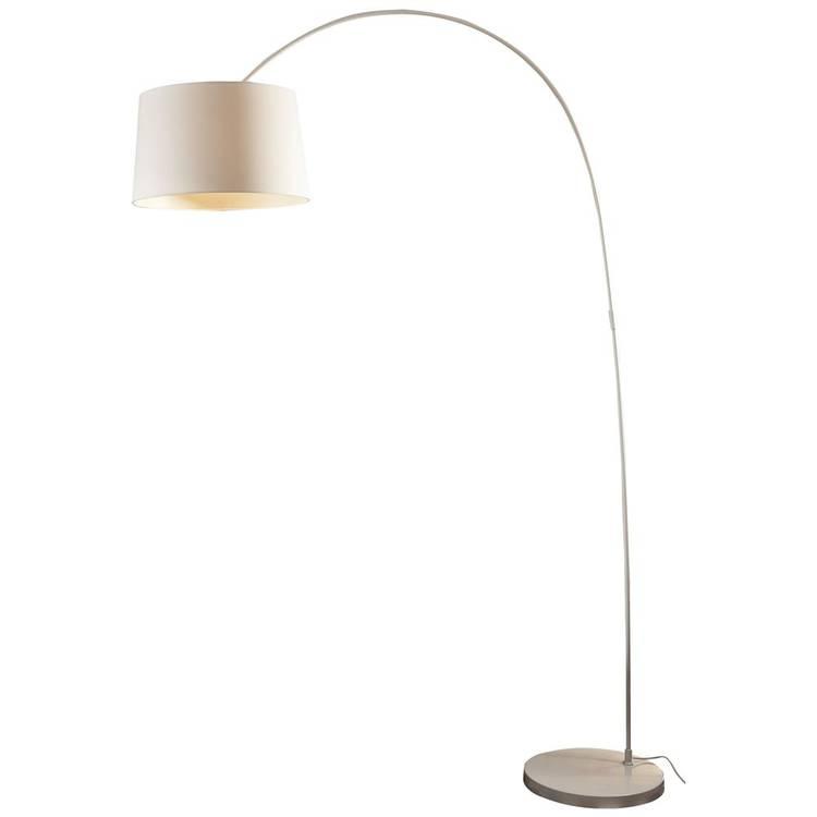 Weiße Bogenlampe für ein gemütliches Licht im Wohnzimmer